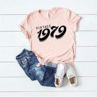 Okoufen vintage 1979 футболка 40-й сорок день рождения футболка женщины верхняя буква печатать вечеринка женские топы с коротким рукавом летний падение корабля Y200111
