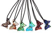 Handmade 6 cores Murano lampwork vidro mistura cor borboleta pingente de colar de ação de graças presente