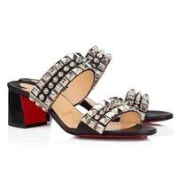 Luxury Fashion Summer Sandals Sandali Slittino Chunky Tacchi rossi Bottom Tina Get PAD flat Spiaggia all'aperto Diapositive Round Toe Sexy Ladies Casual-Cool Box EU 35-43