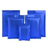 هدية التفاف 100 قطعة / الوحدة ماتي الأزرق الألومنيوم احباط حقيبة سستة قبضة ختم المسيل للدموع الشق الحقائب شقة للوجبة الخفيفة حبوب القهوة