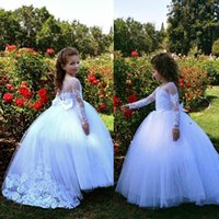 Girl's Dresses Customize Flower Girls Beautiful Holy Communion Dresse Lace Applique Long Sleeve Ball Gown Prom Pageant Clothes For Kids