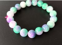 10mm Natural Multicolor Beaded Bracelet Free Ship ping