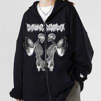 Women's Jackets Y2k Zip-up Hoodie 2021 Women Hip Hop Streetwear Graffiti Butterfly Print Sweatshirt Autumn Harajuku Punk E-girl Outwea