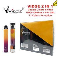 VIGE 2 في 1 يمكن التخلص منها Vape Pen 950mAh البطارية 2000puffs 8.0 ملليلتر سعة زيت 1.4ohm لفائف البخار الحرارة kityq2u