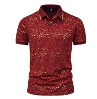 T-shirt Commerce étranger 2021 Été européen et américain Mode Spot Stape Stamping Impression Polo Shirt à manches courtes Fabricant Direct Ventes directes