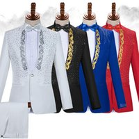Men's Suits & Blazers Luxury Embroidery Mens Dress With Pants Wedding Groom Tuxedo Suit Men Stand Collar Stage Costume Homme Mariage
