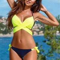 YICN 2021 Seksi Bikini Kadınlar Mayo Push Up Mayo Criss Çapraz Bandaj Halter Bikini Set Plaj Mayo Yüzmek Aşınma XXL