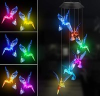 Solar Hummingbird Butterfly Wind Chimes Party Decor Color Changing Outdoor Waterproof Mobile Hanging Pendant Lights for Porch Patio Yard Garden Decorations