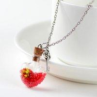 Original drifting flasche lebhafte hängende halsketten kreative natürliche trockene blumen frauen halsketten herzglas halskettegirls geschenk