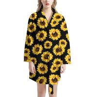 Damen Nachtwäsche Home Kleidung Sonnenblumendruck Damen Langarm Nachthemd Marke Design Winter Warmer Bademantel Für Mädchen tragen Casual HomeWea