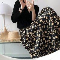 Tia Luxi's High Cintura Floral Verão 2021 Novo Chiffon Pintura A óleo A-Line Skirt Plissado 189
