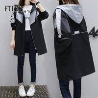 New Women Grey Trench Coat 2020 Spring Autumn Loose Casual Hooded Long Coats Ladies Vintage Streetwear Patchwork Windbreaker 31Sk#