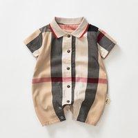 Baby Boys Plaid Romper Bambino Bambini Plaid Risvolto Plaid Single Breasted Manica Corta Designer Designer Infant Onesie Neonato Abbigliamento casual