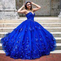 Royal Blue Quinceanera Dress 2021 Sweetheart Sequins Beads Flowers Princess Party Sweet 16 Ball Gown Vestidos De 15 Años