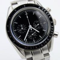 고품질 마스터 쿼츠 크로노 그래프 기능 Mens Watch Speed Moon 시계 스테인레스 스틸 Flod Clasp Mens Wristwatches