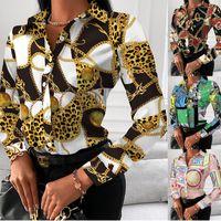Designer de mulheres blusas moda outono primavera manga longa impressa lapela de lapela Chain Cópia de luxo tops para o tamanho da fêmea Plus