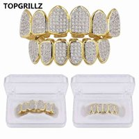 TopGrillz Classic 6/6 hip hop / punk denti grillz set oro argento color top bottom Grems Griglie a bocca dentale Caps Cosplay Party