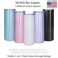 ABD yerel depo stoklanmış paslanmaz çelik çift duvar 20 oz bardak holografik glitter süblimasyon bardak