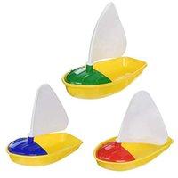 3 Adet Banyo Tekne Oyuncak Plastik Yelkenli Oyuncaklar Küvet Yelkenli Tekne Oyuncaklar Çocuklar için (Çok Renkli Küçük + Orta + Büyük Boy) H1015