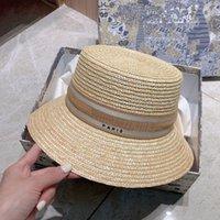 Mujeres Wheat Straw Bucket Hat Designers Caps Hats Mens Sun Womens Fashion Stripe Bonnet Summer Beach Peyted Cap Casquette