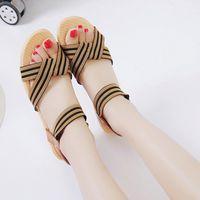 Sapatos de vestido 2021 mulheres sandálias de verão explosões de pé listrado cunhas de anel com tamanho romano estilo retro estilo flats pg