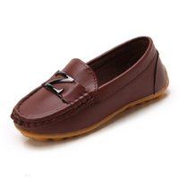 Athletic & Outdoor Candy Colors Boys Leather Shoes Children Casual Sneakers Loafers Flats With Metal Decoration Toddlers Big Kids
