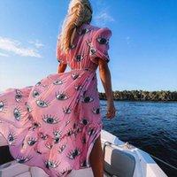 Vestido de mujer color rosa sin arrugas Vestido de mujer de gasa sexy de manga corta de verano, mujer, ropa de baño, traje de baño, cubierta, D1