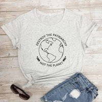 Women's T-Shirt Destroy The Patriarchy Not Planet Funny Women Feminist Tshirt Casual Summer Graphic Ethical Vegan Top Tee Shirt