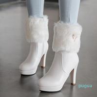 Mały duży rozmiar 32 do 43 Chunky Obcasy Kostki Botki Zimowe Białe Futro Buty Ślubne Buty ślubne Przyjdź z pudełkiem