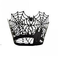 Spiderweb الليزر قطع ورقة كعكة كيك مغلفة أكراف الحالات الخبز كوب حالة الزفاف عيد حزب ديكور DWB8856