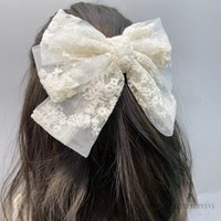 Girls Big lace Bows hair clip women gauze floral embroidery Bow barrettes luxury kids hairpin children princess accessories Q1073