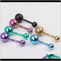 Navel Jewelry B17 100Pcs Lot Mixed 6 Color 14G Titanium Plated Belly Banana Ring,Navel Button Ring Body Piercing Jewelry, Jzjrm I3Izx