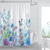 Shower Curtains 3D Floral And Animal Printed Nordic Style Curtain Set Hook Natural Landscape Home Bathroom