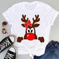 Koszulka damska Wesołych Świąt Boże Narodzenie Jeleń Cartoon Druku Koszulki Odzież Wakacyjne Kobiety 90. Zwierząt Cute Graphic Kobieta Happy Yex Roczny Top Tshirt Tee