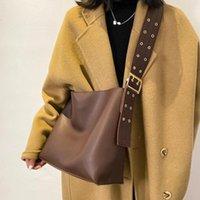 Evening Bags Vintage PU Leather Bucket Shoulder Bag Women 2021 Composite Wide Belt Crossbody Trendy Solid Color Handbag