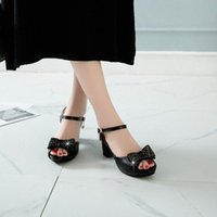 Talones de tamaño grande Sandalias Sandalias Zapatos Mujer Verano Damas Pescado Pescado Belizfly Sandalias anudadas Plataforma Tacones Negros Sandalias Z2GP #