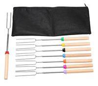 8шт / комплект U Тип BBQ Форкс жареные палочки набор костра Нержавеющая сталь деревянная ручка телескопическая барбекю жареная вилка GWE7532