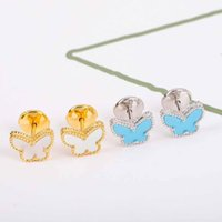 S925 silver butterfly shape with nature shell and turquise stone drop earring in 18k gold plated color wedding jewelry gift have stamp box WEB 141