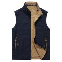 Men's Vests Brand Vest Men Stand Collar Reversible Pography Military Sleeveless Jacket Gilet Homme Size 5XL Chalecos Para Hombre