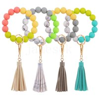 9 styles Silicone Bracelet Keychain with PU Lether Tassels Pandent Bead Bangle Key Ring Decorate Fashion DD331