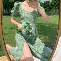 Casual Dresses QWEEK Women's Summer Dress 2021 Floral Print Green Puff Sleeve Split Woman French Robe Femme Sundress Vestidos