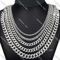 Davieslee 60cm Mens Chain Silver Color Stainless Steel Necklace for Men Curb Cuban Link Hip Hop Jewelry 3 5 7 9 11mm DLKNM071