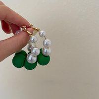 Hoop & Huggie Elegant White Imitation Pearl Earrings For Women Summer Korean Style Ear Ring Green Bead Accessories Charm Favorite Jewelry Gi