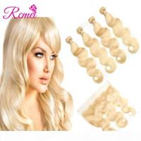 RCMEI Pre-Coloe 613 Blonde Body Wave Hair Human Pein 4 Paquetes con 13 * 4 Encaje Frontal Pre-arrancado 10-30 pulgadas 100% Mongolian Virgin Hair 5pcs Lot