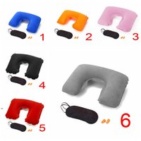 Cuello de PVC inflable de la almohada de la almohada del ojo de la almohada Earplugs del sueño Travel Tres set Conveniente Conveniente en forma de U Flocking Cómodo Relax Soft DWD8390