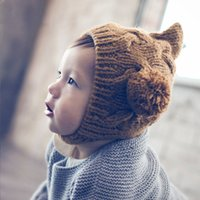 M27 born Infants Boys and Girls Autumn Winter Wool Hat Children's Knitted Elf Two Ball Warm s D9EN722