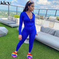 Kliou outono dois pedaço conjunto mulheres manga comprida zíper bolso jaquetas desportivas + leggings conjuntos de conjuntos de treino trajes eléctricos T200826