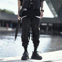 Men's Pants Multi-Pocket Cargo Jogging Men Japanese Fashion Loose Jogger Tactical Streetwear Black Techwear