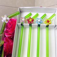 5pcs 사용자 정의 높은 붕소 실리콘 손으로 바른 유리 꽃 장식 장식품 부활절 크리 에이 티브 벤드 빨대