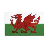 Уэльс Флаг 3х5 футов Уэльс Национальные флаги Флаги баннера 90 * 150см Полиэстер с латунными втулки Главная Сад Сейд Флаг Декор